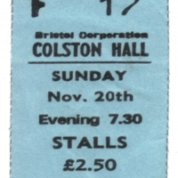Ticket from Sandy's final tour: Sunday 20th November 1977.